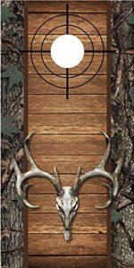 Deer Skull and Camo Cornhole Board Decal Wrap